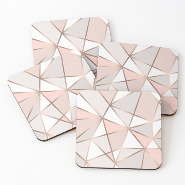 Pink, Grey & Gold Geo Wall Tapestry Coasters (Set of 4)