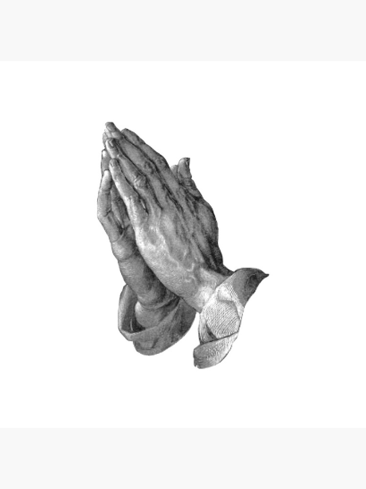 Pray. Prayer. Praying. Albrecht Durer. Hands of the Apostle, Praying Hands, pen and ink drawing, c. 1508. on WHITE. by TOMSREDBUBBLE