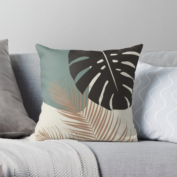 Minimal Monstera Palm Finesse # 1 #tropical #decor #art Coussin