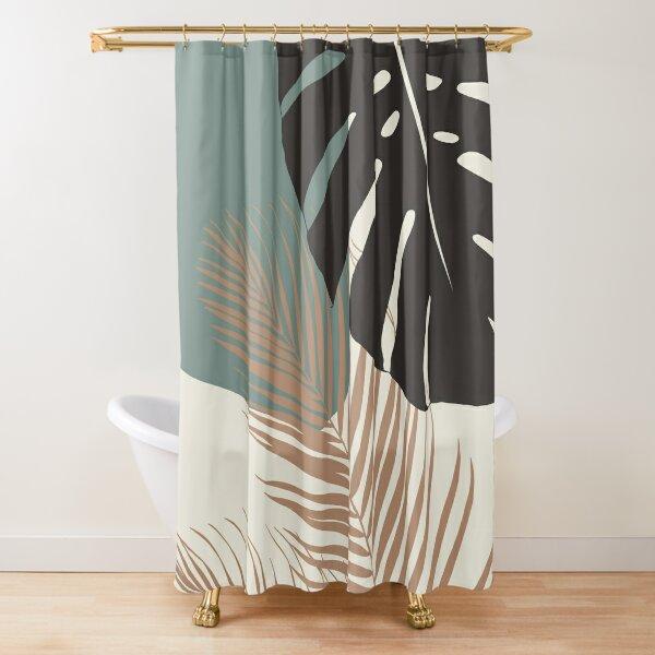 Minimal Monstera Palm Finesse #1 #tropical #decor #art  Shower Curtain