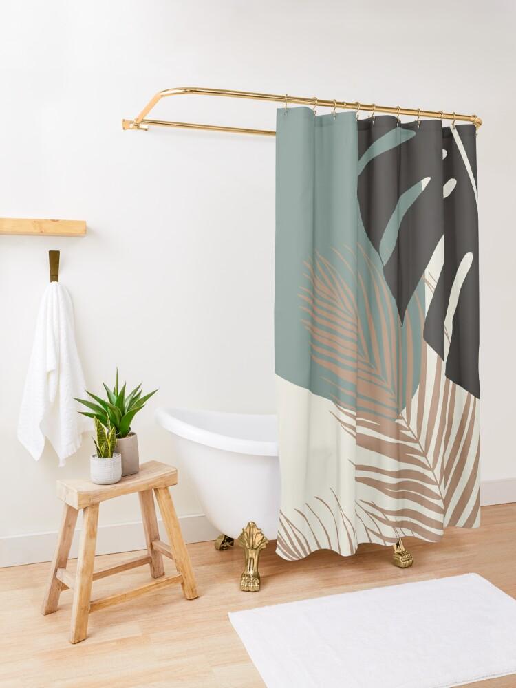 Alternate view of Minimal Monstera Palm Finesse #1 #tropical #decor #art  Shower Curtain