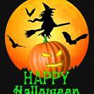 Fliegende Hexe Jack O Lantern Happy Halloween von Packrat