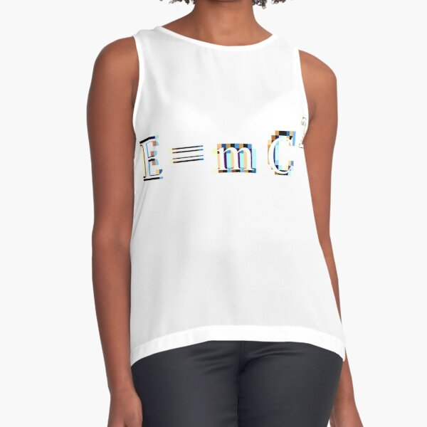 E = mC² #Equation derived by the twentieth-century physicist Albert #Einstein, in which E is #Energy, m is mass, and C² is Speed of Light squared, or multiplied by itself - #Relativity Sleeveless Top