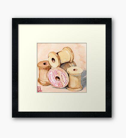 Wooden Spools I Framed Print
