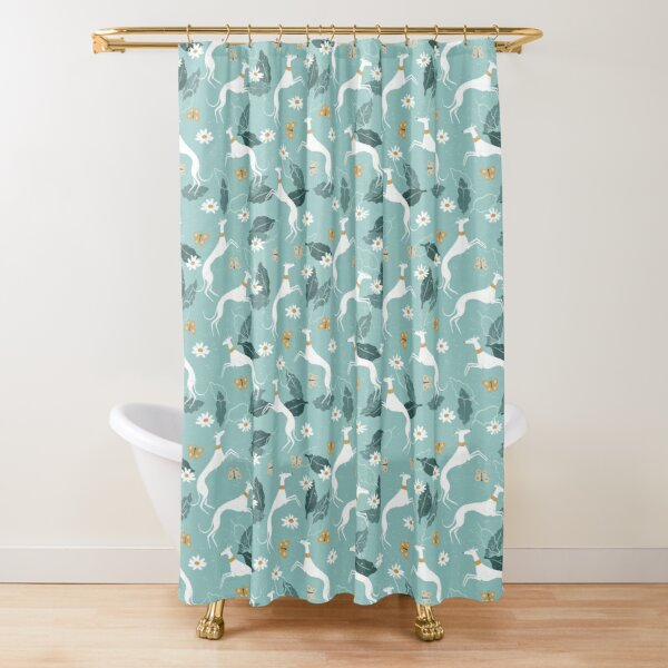 Greyhound and Butterfly Shower Curtain