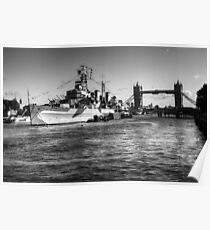 HMS Belfast and Tower Bridge 2 in Black and White Poster