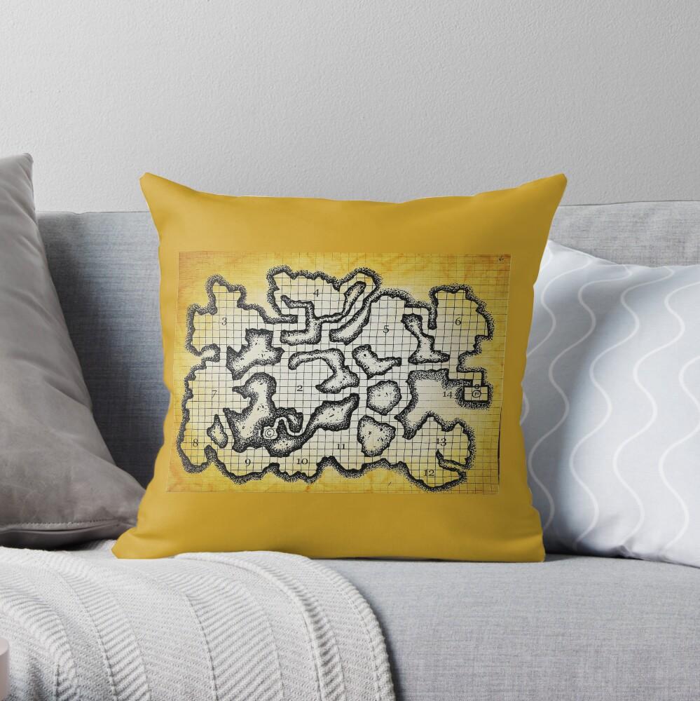 Old School Dungeon Map Art | Goblin Caves Throw Pillow