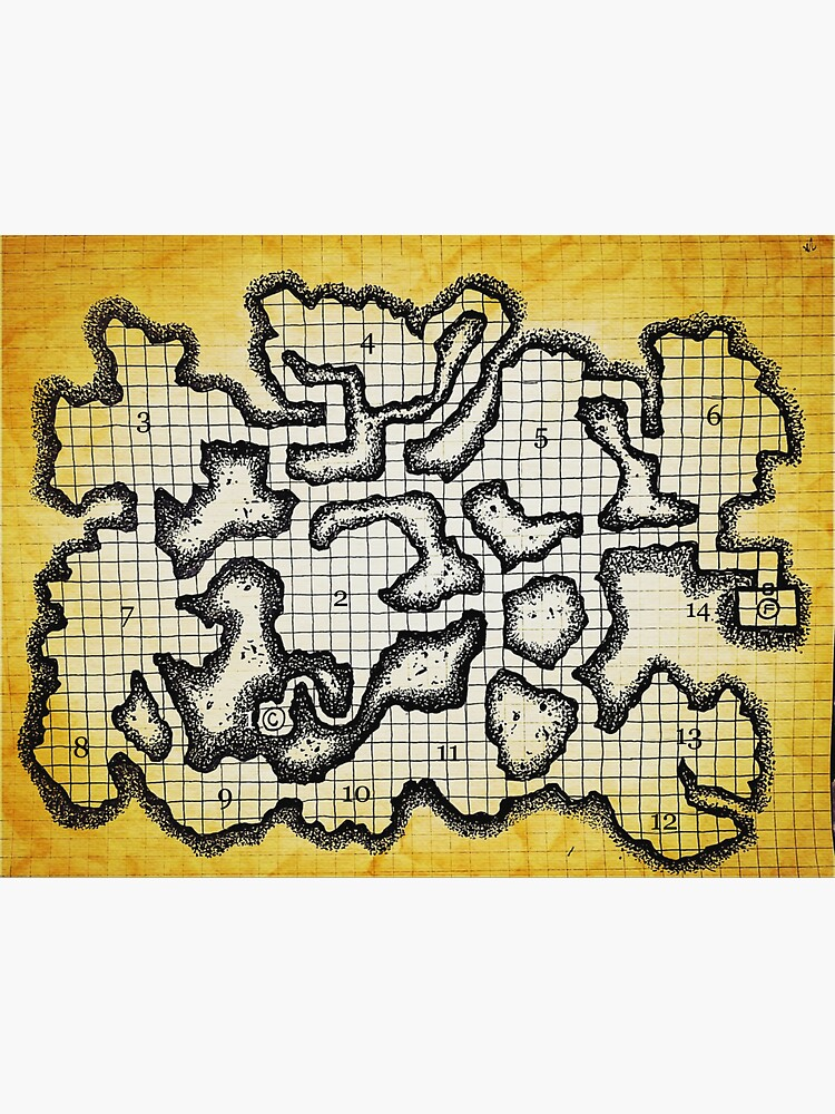 Old School Dungeon Map Art | Goblin Caves by TFCreative