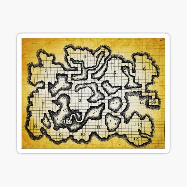 Old School Dungeon Map Art | Goblin Caves Sticker