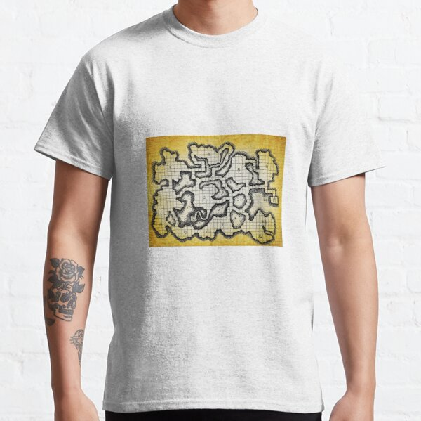 Old School Dungeon Map Art   Goblin Caves Classic T-Shirt