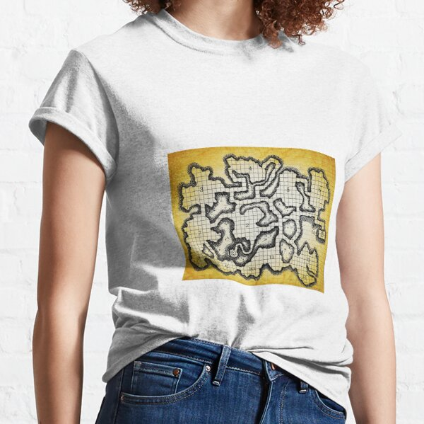 Old School Dungeon Map Art | Goblin Caves Classic T-Shirt