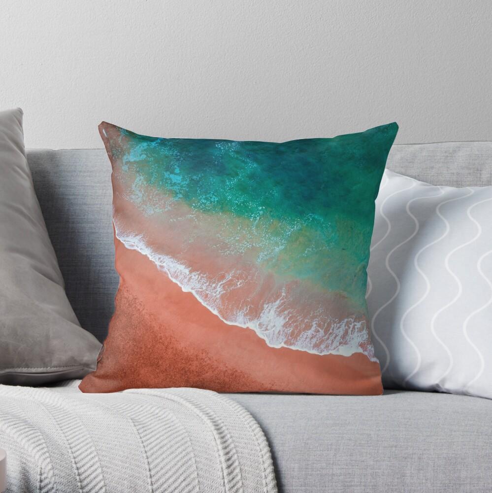 Aerial Colourful Sandy Beach  Throw Pillow