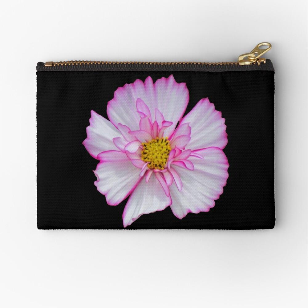Blume in pink & weiß, Blumen, Blüte, Garten, Natur Täschchen