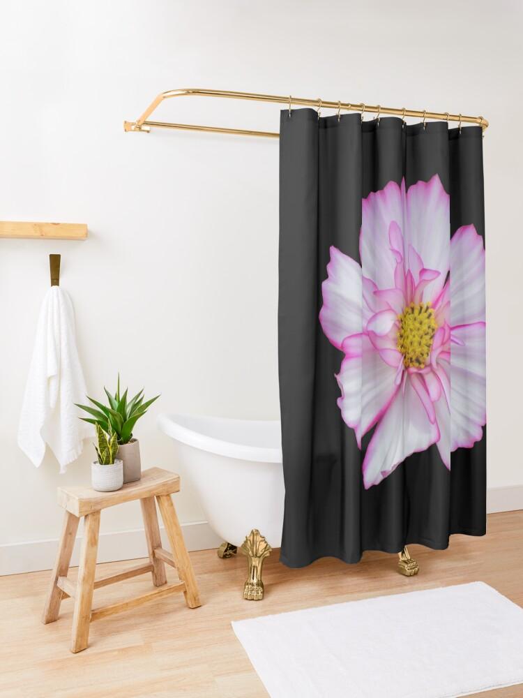 Alternative Ansicht von Blume in pink & weiß, Blumen, Blüte, Garten, Natur Duschvorhang