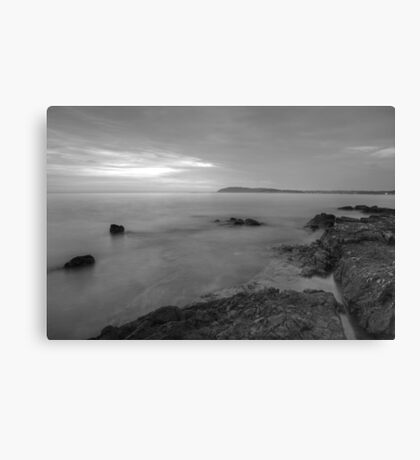 Dusk on the Adriatic sea in Black and White Canvas Print