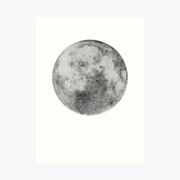 Negative Pixel Moon Art Print