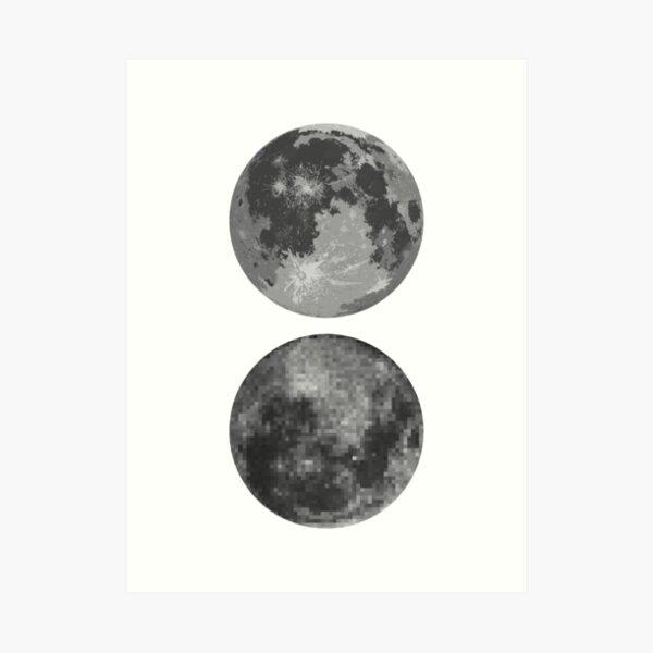 Moon Pixel Mirror Art Print