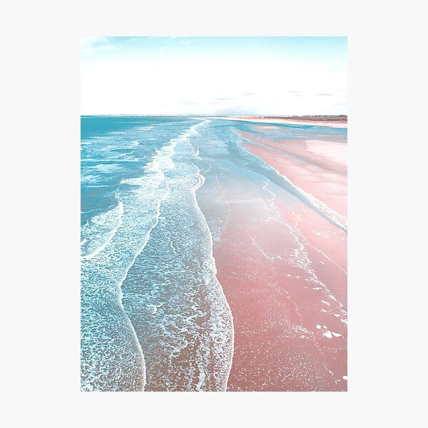 Pink and Blue Beach Wall Print Photographic Print