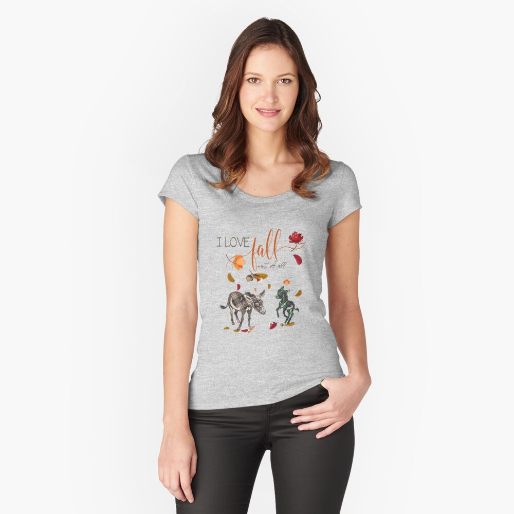Donkey Lovers - I Love Fall Most of All  Fitted Scoop T-Shirt