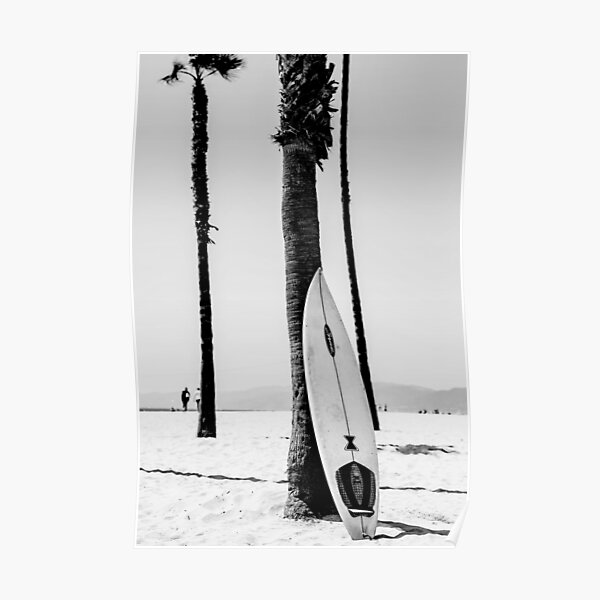 Surfboard Black and White Wall Art Poster
