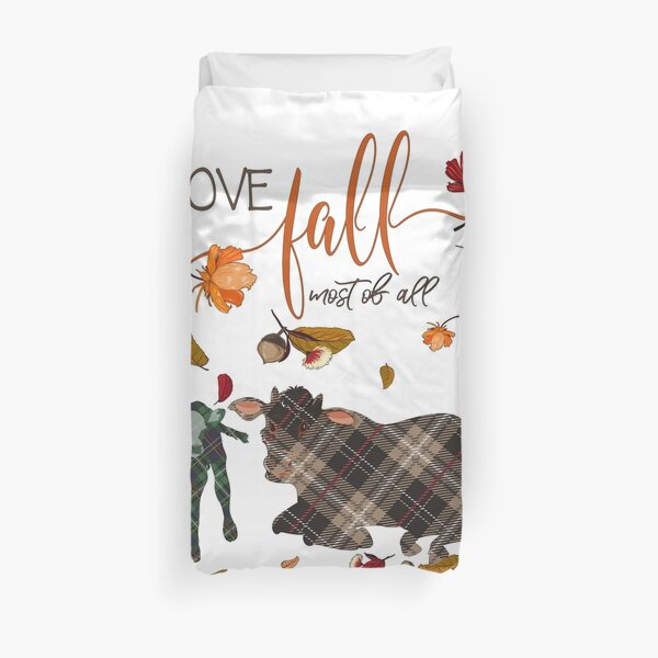 Cow Lovers - I Love Fall Most of All  Duvet Cover