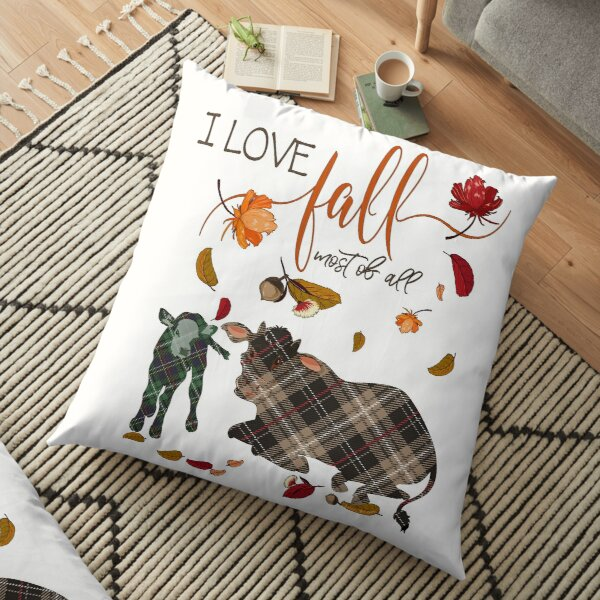 Cow Lovers - I Love Fall Most of All  Floor Pillow