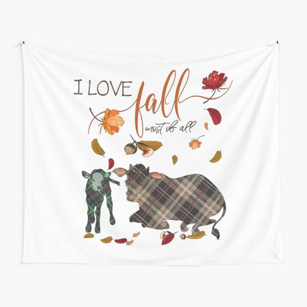 Cow Lovers - I Love Fall Most of All  Tapestry