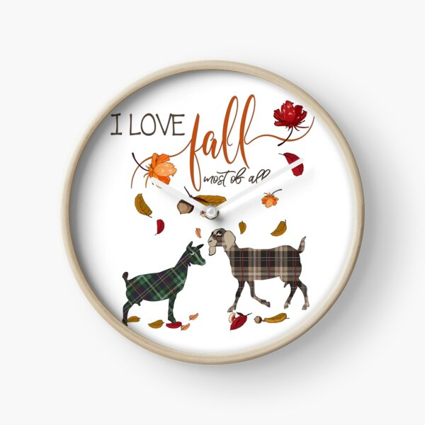 Goat Lovers - I Love Fall Most of All  Clock