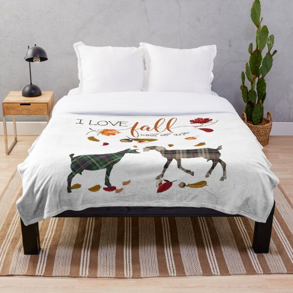 Goat Lovers - I Love Fall Most of All  Throw Blanket