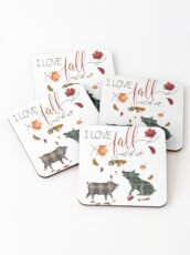 Pig Lovers - I Love Fall Most of All  Coasters
