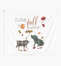 Pig Lovers - I Love Fall Most of All  Wall Tapestry