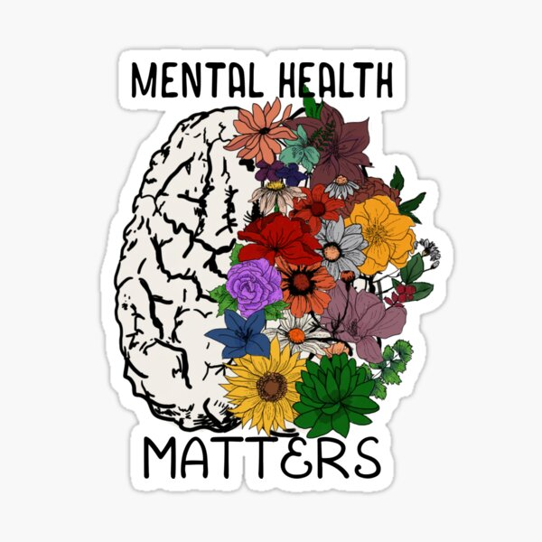 Mental Health Matters- Floral Brain Sticker