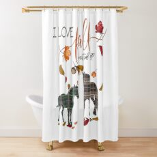 Horse Lovers - I Love Fall Most of All  Shower Curtain
