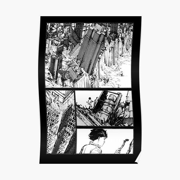 Akira cyberpunk city post apocalypse manga strip Poster