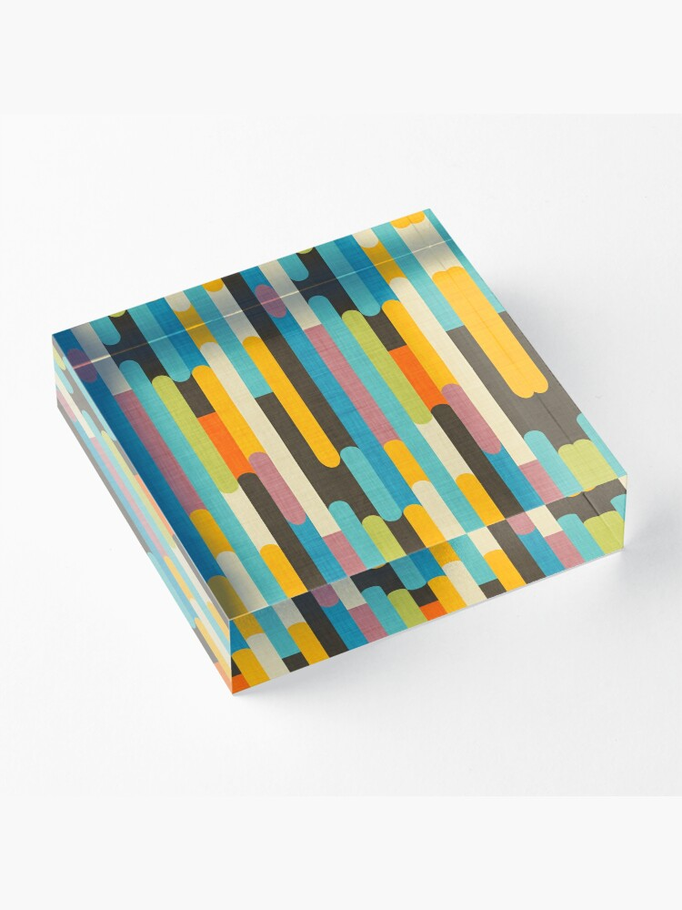 Alternate view of Retro Color Block Popsicle Sticks Blue Acrylic Block