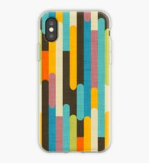 Retro Color Block Popsicle Sticks Blue iPhone Case