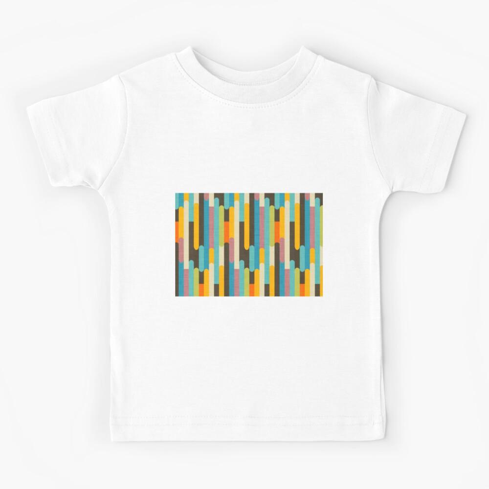 Retro Color Block Popsicle Sticks Blue Kids T-Shirt