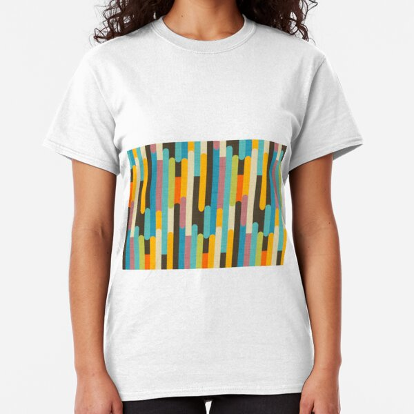 Retro Color Block Popsicle Sticks Blue Classic T-Shirt