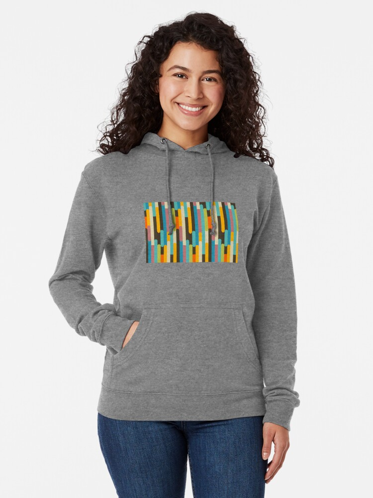 Alternate view of Retro Color Block Popsicle Sticks Blue Lightweight Hoodie