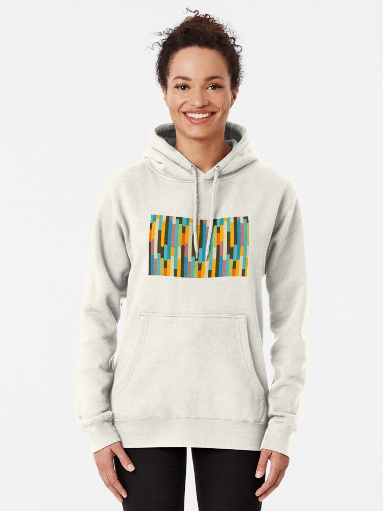 Alternate view of Retro Color Block Popsicle Sticks Blue Pullover Hoodie