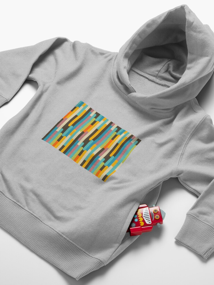 Alternate view of Retro Color Block Popsicle Sticks Blue Toddler Pullover Hoodie