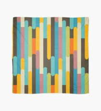 Retro Color Block Popsicle Sticks Blue Scarf