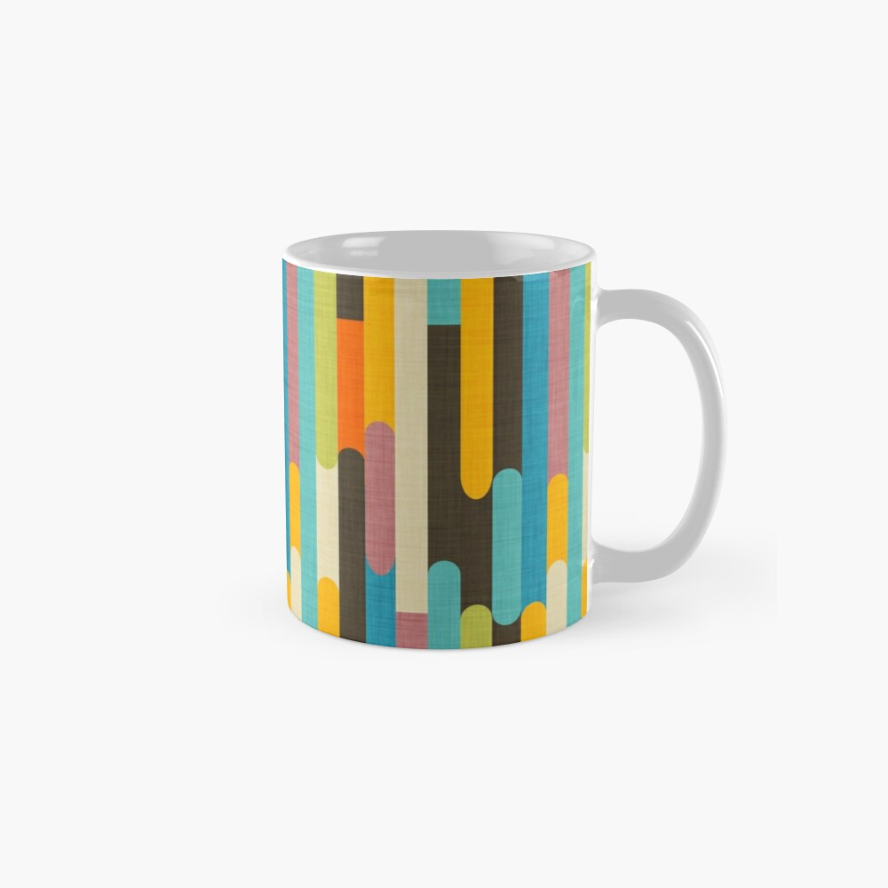 Retro Color Block Popsicle Sticks Blue Mug
