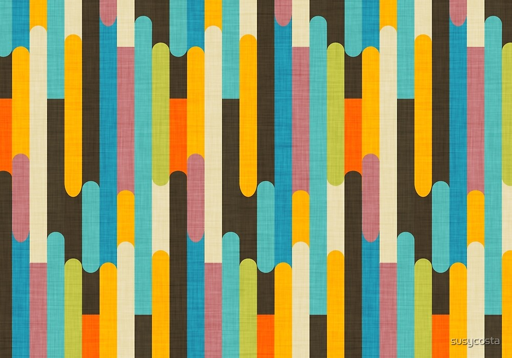 Retro Color Block Popsicle Sticks Blue by susycosta