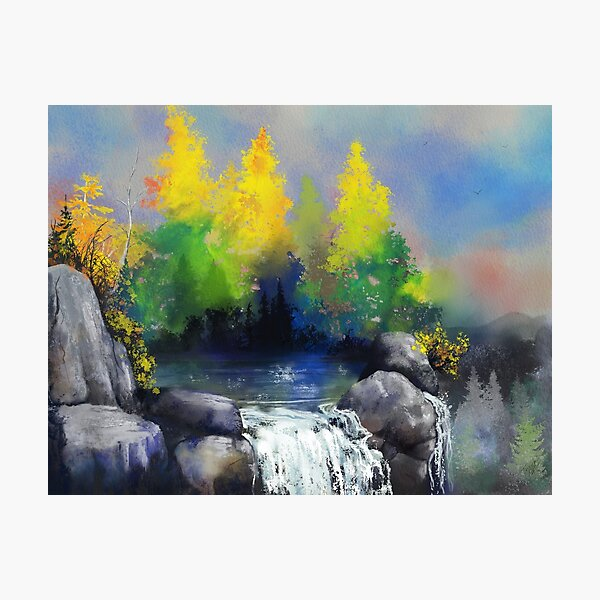 Tennessee Mountain Lake & Waterfall - Watercolor Ink Painting Photographic Print