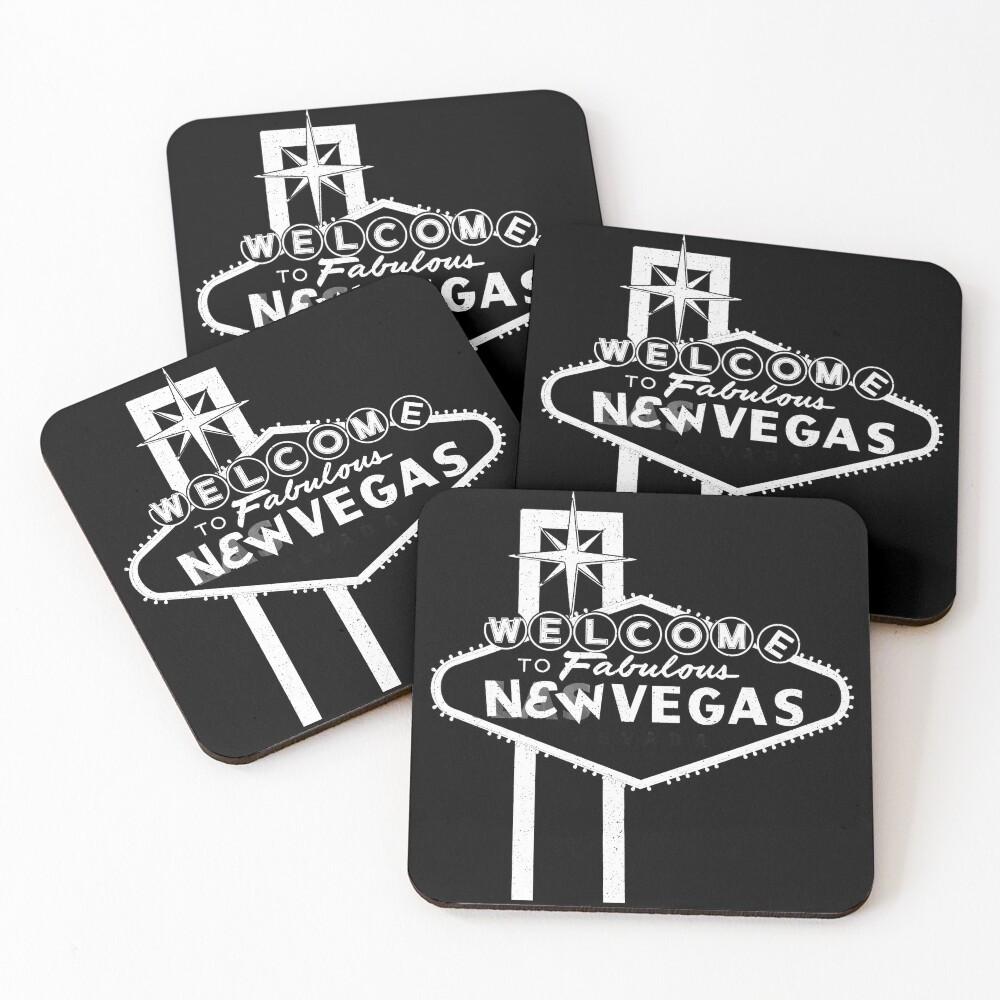 Welcome to New Vegas   Fallout New Vegas   White Logo Coasters (Set of 4)