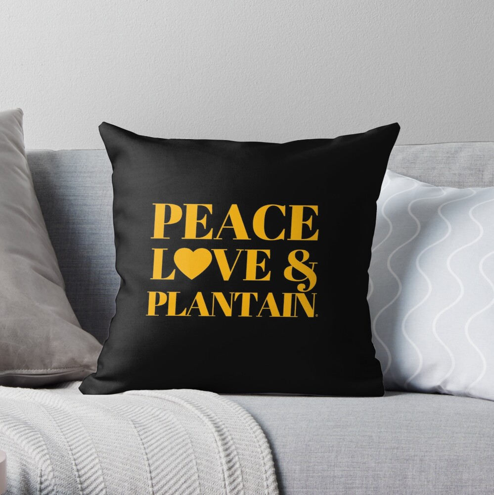 Peace, Love & Plantain Throw Pillow