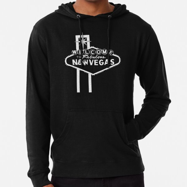 Welcome to New Vegas   Fallout New Vegas   White Logo Lightweight Hoodie