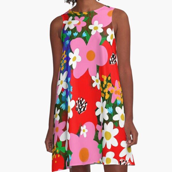 """helle und fröhliche """"Flower Power""""! Mit der originalen handgezeichneten Illustration von JJ eines wunderschönen Blumengartens aus weißen und rosa Gänseblümchen mit hübschen roten Mohnblumen!  ________________ © Der Liebesladen. Eingetragen beim US Cop A-Linien Kleid"""