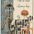 Leser und Buchliebhaber Art Deco Woman von Glimmersmith